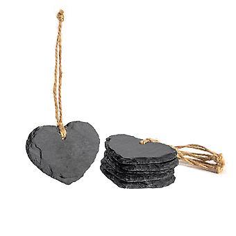Liten hängande dekorativt hjärta Skiffer Tag - Box av 6