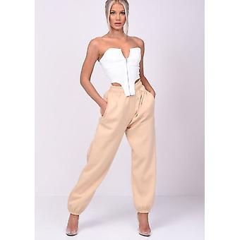Calças de jogger de cintura alta algemadas de cintura alta bege