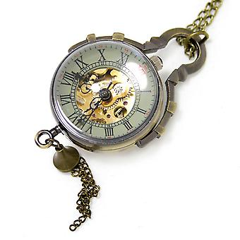 Boolavard® TM Steampunk Style Brass Glass Ball Quartz Pocket Watch Necklace