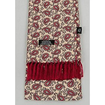 Beige & Red Paisley Rayon Aviator Scarf