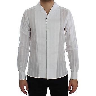 Dolce & Gabbana White Striped Cotton Slim GOLD Shirt