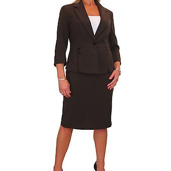 Women's Business Designer Look Fully Lined 2 Piece Suit Ladies Smart Button Blazer Skirt Suit 8-16