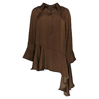 DG2 by Diane Gilman Women's Top Brown Tunic Button-Up Long Sleeve 732-519