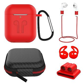 6 in 1 AirPods Accessories Kit Silicone Case with BuckleApple AirPods red