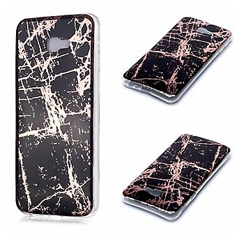 For Galaxy J4+ Plating Marble Pattern Soft TPU Protective Case(Black Gold)