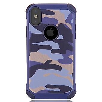 For iPhone X  Camouflage Pattern PC + TPU Combination Case(Blue)