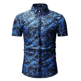 YANGFAN Men's Casual Short Sleeve Floral Shirt