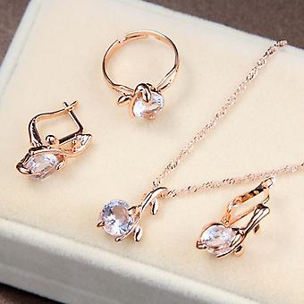 Fashion Elegant Austrian Crystal Pendants, Necklaces, Earrings, Ring Set Bridal
