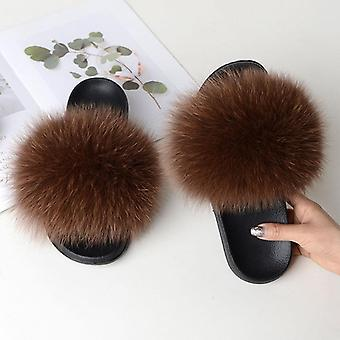 Naiset Kesä Rento Turkis Tossut Flat Ei-slip Solid Real Fox Hair Slides