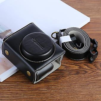G7XII PU Leather Camera Protective bag for Canon Powershot G7X Mark 2 G7XII Digital camera, with Strap (Black)