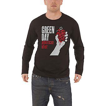 Green Day T Shirt American Idiot band logo new Official Mens Black Long Sleeve