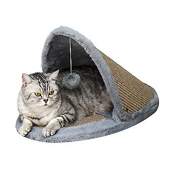 PawHut Cat House Kitten Bed Pet Furniture with Sisal Scratching Area Soft Plush for Rest and Play, Grey and Brown