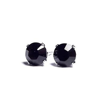 Sterling Silver Unisex Studs Earrings 2 Carat Swarovski Crystal - Black Diamond