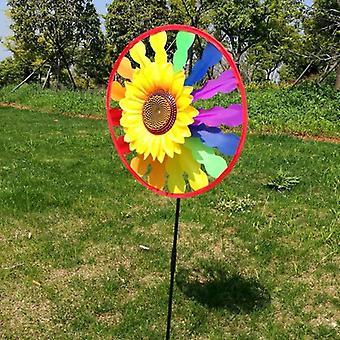 Sunflower Windmill Whirling Wind Spinner - Yard Garden Decor Child Toy