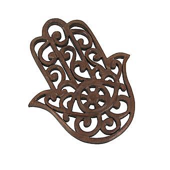 Hand gesneden houten Hamsa Muur opknoping plaque symbool van bescherming 7,75 inch hoog