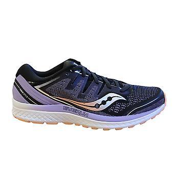 Saucony Guía Iso 2 Zapatillas Negras Púrpura Femenil Encaje Zapatos de Running S10464 37