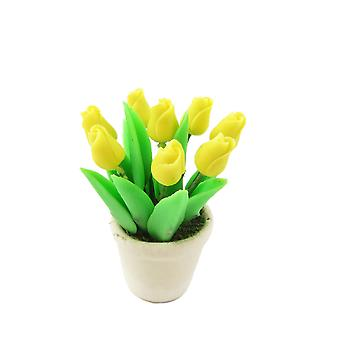 Dolls House keltainen tulppaanit kerma kasvi pot miniatyyri kotiin tai puutarha lisävaruste