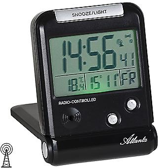 Atlanta 1806/7 Alarm Clock Travel Alarm Clock Radio Digital Black with Light Snooze Date