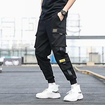 Men's Pockets Cargo Harem Pants Ribbons Black Hip Hop Casual Joggers