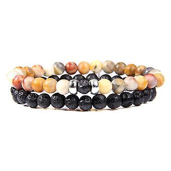 Couples Distance Bracelets, Male Stone Beads, Wood Charm Bracelet