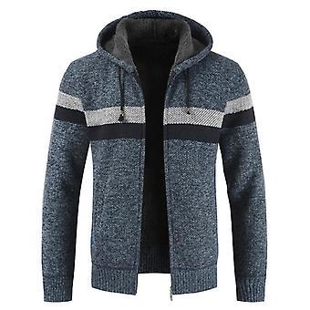 Abrigo de suéter de invierno, hombres gruesos con capucha cálida cardigan Jumpers, delineador de lana de rayas