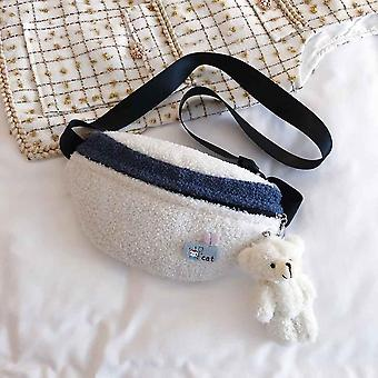 Women Corduroy Zipper Shoulder Bag, Small Cotton Canvas Handbag