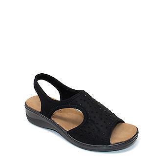 Cushion Walk Stretch Fabric Diamante Trim Sandal