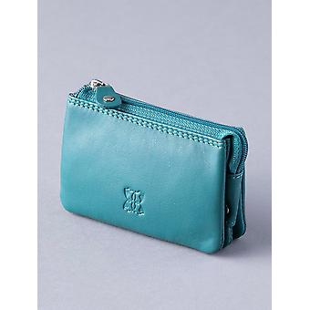 Multi Pocket Leather Coin Purse in Teal