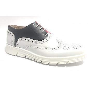 Shoes Men's Tony Wild Francesina Brogue In White Leather Blue and Red Us17tw18
