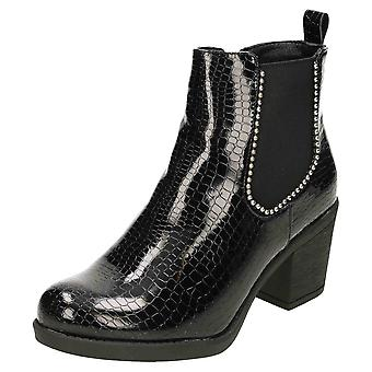 Koi Footwear Chelsea Ankle Boots Studded Patent Croc Block Heel