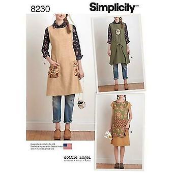 Yksinkertaisuus ompelu kuvio 8230 MissEs Naisten esiliina Mekko Tabard Koko XS-XL