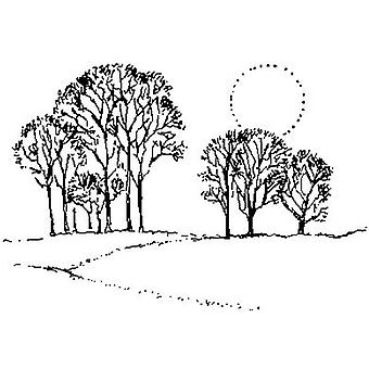 Trees And Sun Wood Mounted Stamp