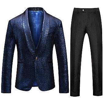 Allthemen الرجال الخفيفة نقطة مساء فستان الطرف اللباس 2 قطعة مجموعة (الأزرق الأعلى والسراويل السوداء)