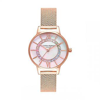 Olivia Burton Naisten kello 3 AIGUILLES OB16WD95 - Vaaleanpunainen Dor Steel Rannekoru