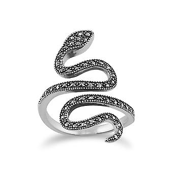 Art Nouveau Style Round Marcasite Snake Boho Ring in 925 Sterling Silver 214R579201925