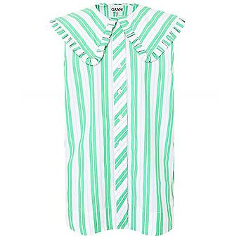 Ganni Stripe Cotton Sleeveless Shirt