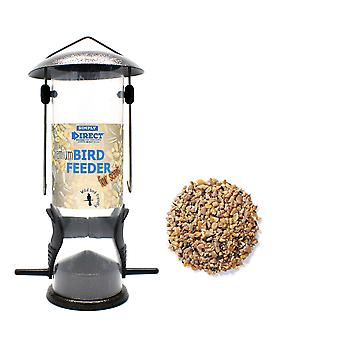 1 x Simply Direct Premium Hammertone Wild Bird Seed Feeder with 1KG Bag of Seed Feed