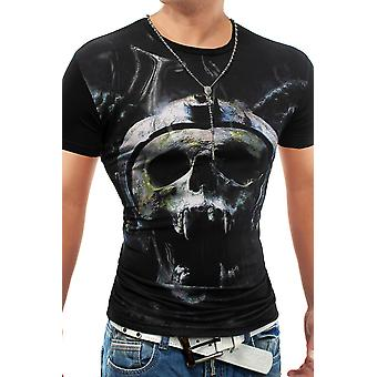 Men's sommar t-shirt Stretch Slim Fit Club Wear Netztoff Demons Creeping
