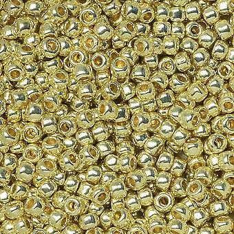توهو بذور الخرز، الجولة 11/0 #PF559 'PermaFinish المجلفن الذهب الأصفر'، 8 غرام