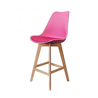 Fusion Living Eiffel Inspired Bright Pink Plastic Bar Stool With Light Wood Legs