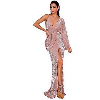 Sexy Rose Gold V-Neck Single Sleeve Sequins Split Party Maxi Dress