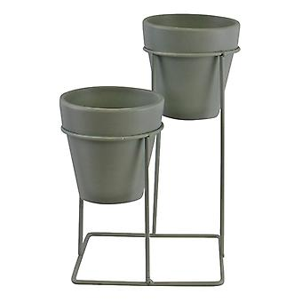 Potting Shed Small Double Planter On Stand, Green