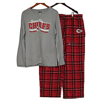 Juego de pijama para mujeres de la NFL con top de manga larga y pantalones de franela rojos A387687