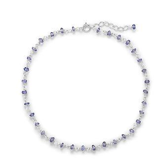 925 Sterling Silver Tanzanite Anklet 9.5 Pouces un 1 Pouce Extention Bijoux Cadeaux pour les femmes