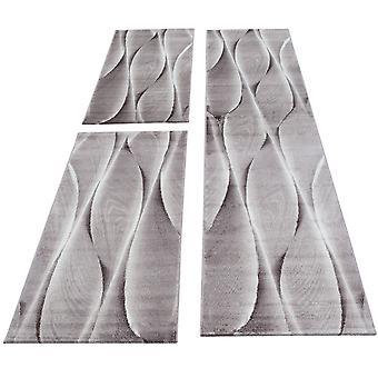 Bed grensloper set tapijt plaid abstract patroon 3-delige slaapkamer gang bruin wit gevlekt