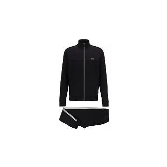 Hugo Boss Set 1 bavlnený slim fit lievik Zip Čierna tepláková súprava
