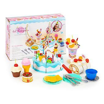 Conjunto de bolos de brinquedo com confeitaria e louças 76 peças