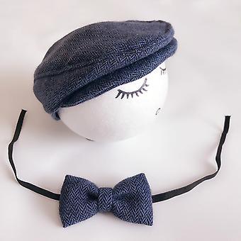 Recién nacido bebé sombrero traje pequeño caballero arco corbata fotografía Props Estudio