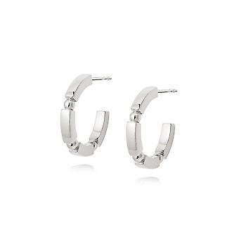 Daisy Stacked Chunky Midi Hoops Sterling Silver Earrings EB8007_SLV