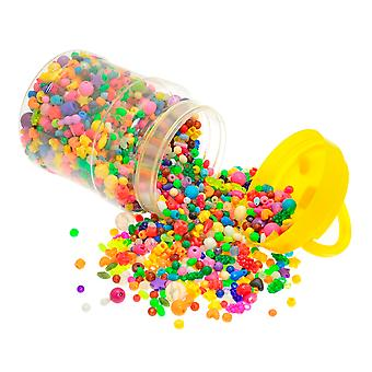 Assorted Bucket of Over 2500 Plastic Beads for Kids Crafts